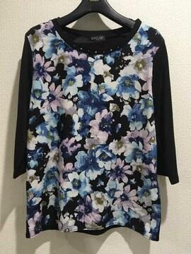 花柄フラワートップス五分丈七分丈黒ブラックTシャツ