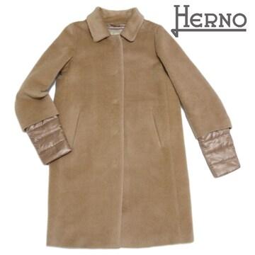 新品ヘルノ アルパカ ステンカラーコート キャメル #42  HERNO