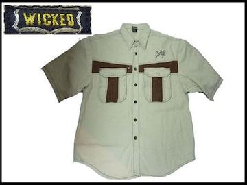 80sデッドストックデニムシャツ新品WICKEDウィキッヴィンテージクロクカラーズBBOY系