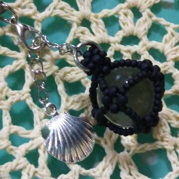 『手作り』ビー玉で作成!ちゅら玉風*strap(黒)