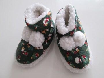 ルームシューズ/クリスマス柄ボンボンボア/ベビー子供靴/約17�p