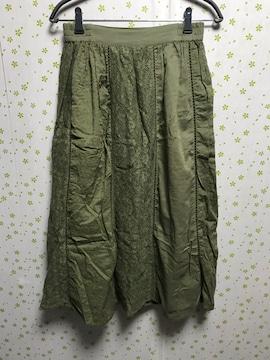 Mサイズ 刺繍 ロングスカート カーキ