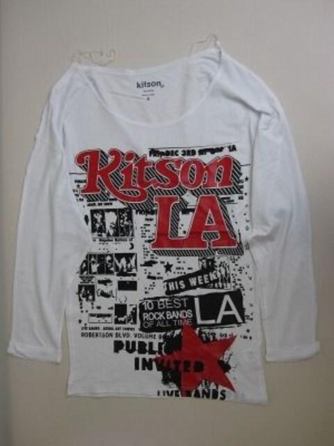 kitsonキットソンホワイトプリントTシャツセレブ愛用ニコールパリス  < ブランドの