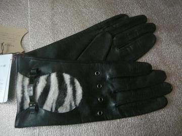 iCB ●黒フェイクハラコ羊皮革手袋21