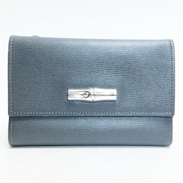 美品Longchampロンシャン 三つ折り財布 グレー 良品 正規品
