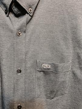 美品ラコステ LACOSTEビジネスシャツ3ライトグレーsモデル半袖