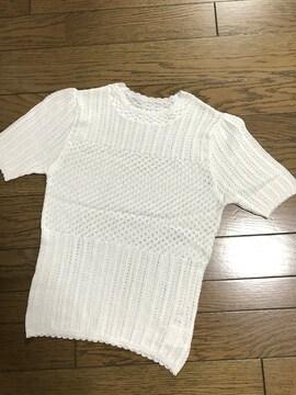 ダズリンdazzlin かぎ編み半袖ホワイト白ニット