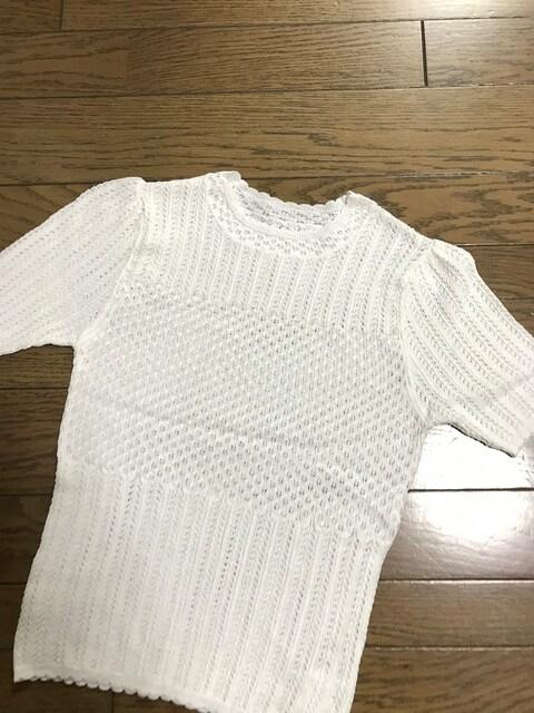 ダズリンdazzlin かぎ編み半袖ホワイト白ニット < ブランドの