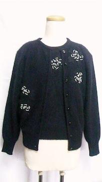 バラ刺繍パールストーン半袖セータートップス&カーディガンアンサンブルセット〓アンゴラウールニット