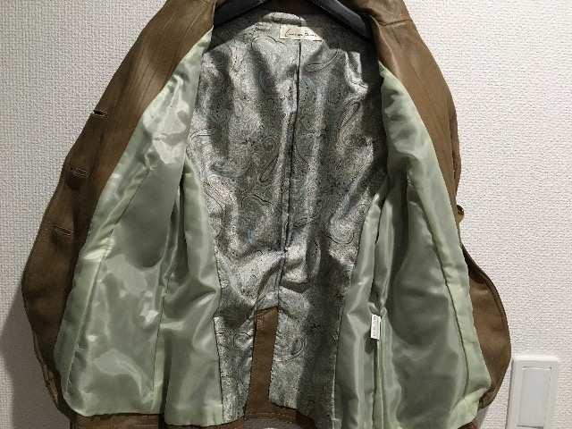コムアンファンレザー風ジャケットキャメル茶アウターコートブルゾン < 女性ファッションの