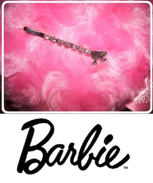 .バービー髪留めピンどめ ピンク石付き 子供さんにも最適