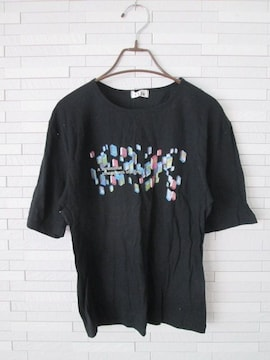 美品即決/isle/綿100%ロゴプリント半袖Tシャツカットソー/黒