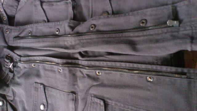 訳あり激安91%オフタケオキクチ、ブルゾン、ジャケット(新品、黒灰、加工、L) < 男性ファッションの