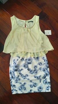 Onewayワンピース姫レモンイエロー黄色ブルー青薔薇白スカート