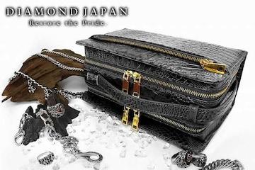送料無料ツヤなしクロコ柄PUセカンドバッグ/オラオラ系ヤクザチンピラ小物鞄008黒2