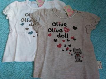 OLIVE des OLIVE DOLL90 サイズ 女の子半袖 T シャツ 2点
