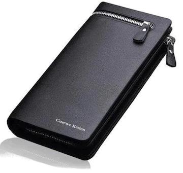 ベストセラー990円★メンズPUレザー大容量 高級感溢れる長財布