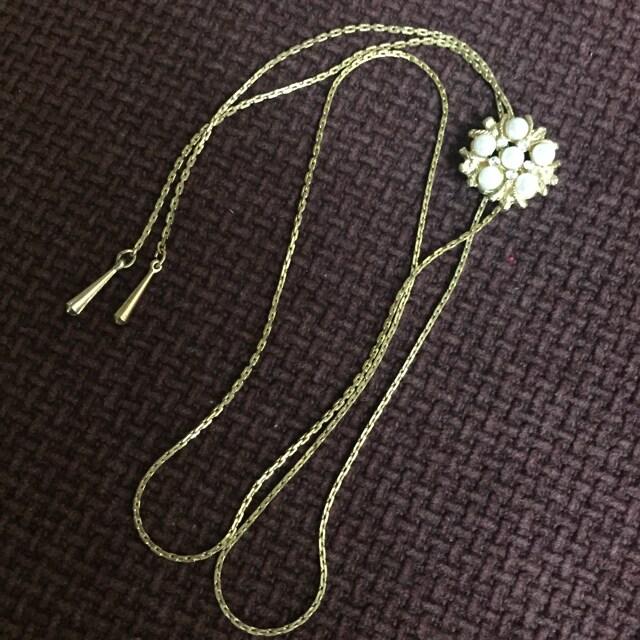 飾りアジャスター付き ロングネックレス < 女性アクセサリー/時計の