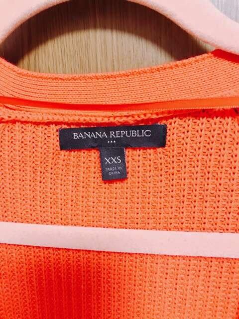 �B バナナリパブリック  オレンジ ロングカーディガン xxs < ブランドの