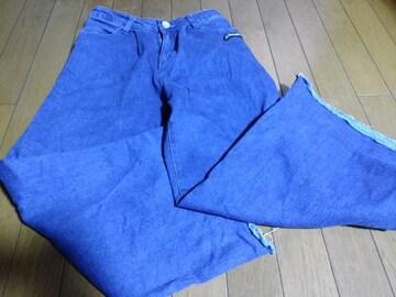 JN-ロングワイドデニムパンツ150ブルー