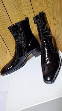 正規良 レア リチウムオム エナメルヒールブーツ黒 40 25~26cm サイドジップ メンズ