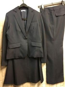 新品☆11号スーツ3点セット!パンツ・スカート紺シャドー☆n122