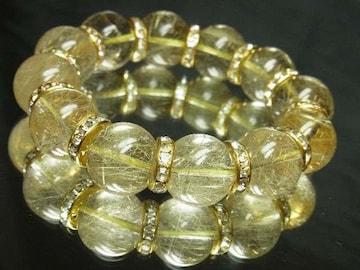 透明感抜群!!!金針水晶ゴールドルチル18mm数珠ブレスレット