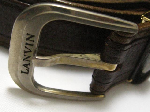 LANVIN.ランバン.シンプル上質茶革スタンダードデザインベルト85〜90センチ一品限 < 男性ファッションの