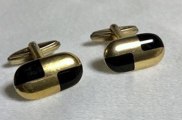 正規 ディオールDior ヴィンテージ ゴールド×ブラック コンビカラーカフス 金×黒ボタン