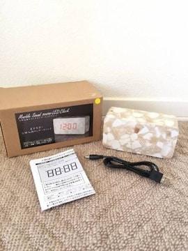 大理石調サウンドセンサー付 LEDクロック/置き時計 新品