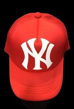 セール新品ニューヨークヤンキース★メッシュキャップ★スナップバックNYレッド