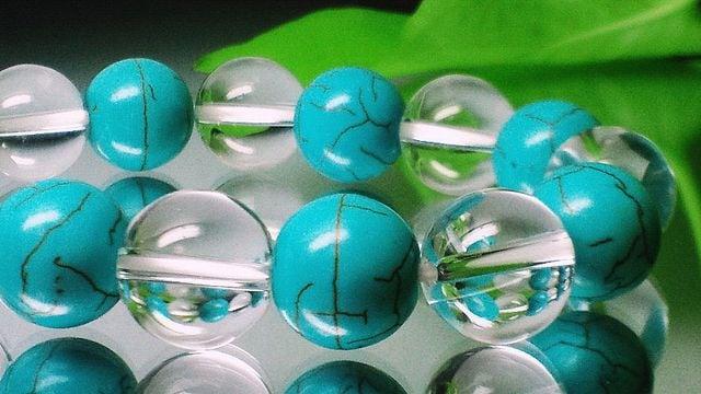 ターコイズ§クリスタル水晶§12ミリ数珠 < 女性アクセサリー/時計の