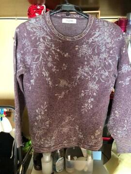 薄紫色柄ありニット長袖サイズM