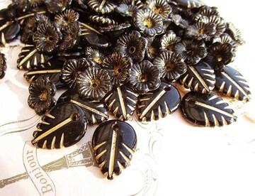 ヴィンテージ風花と葉50個ブラック+ゴールドライン