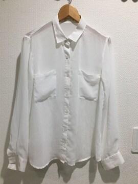 GU ジーユー 長袖 シャツ トップス シースルー 白 ホワイト ユニクロ シフォン