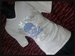 スタッズスカルVネックTシャツ 新品白3L/MCW-503