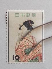 【未使用】1955年 切手趣味週間 ビードロを吹く娘 1枚