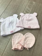 babyGap0〜3m美品クマ耳帽子2セット42�pミトン付き新生児