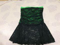 美品黒色ブラックレースベアトップホルターネックグリーン緑色