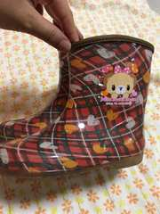 可愛い^ - ^チェックの女の子の長靴〔17cm〕
