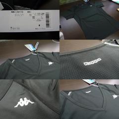 送料込(M黒)カッパ KM512UT73 半袖インナーシャツ 薄手 メッシュ 伸縮 V首