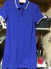 ブルーポロシャツ半袖ワンピース