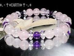天然石★ローズクォーツAAA*アメジストAAA数珠