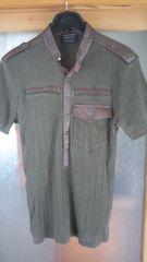 ミリタリー風のタイトなTシャツ 送料無料