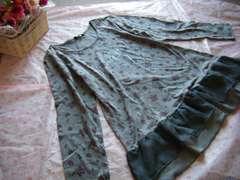 大きいサイズ 3L花柄可愛い裾シフォンふりるラメロゴチュニック☆グレー