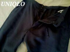 【UNIQLO】リネンコットンイージーパンツ M/Navy 麻&綿