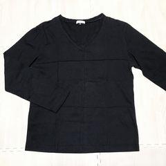 【used】V首長袖 格子柄Tシャツ/メンズM/黒/a.v.v HOMME