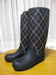ミッシェルクラン レインブーツ avv 新品 24cm 黒 幾何学 長靴 婦人 M 激安
