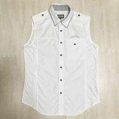 【美品】異素材MIXノースリーブシャツ/PPFM/白/二重襟/