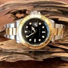 最安値!ロレックス★ヨットマスタータイプ◇クォーツ メタル腕時計・ブラック×コンビ